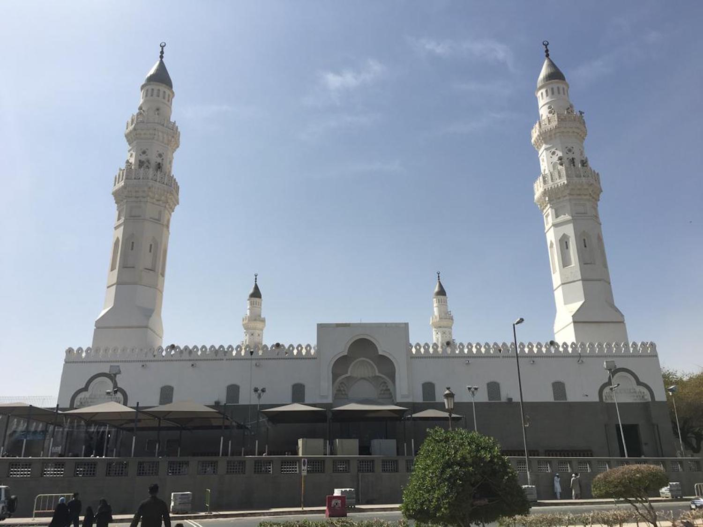 Al-Quba Mosque where the Prophet ﷺ prayed his first prayer and a prayer equals an Umrah