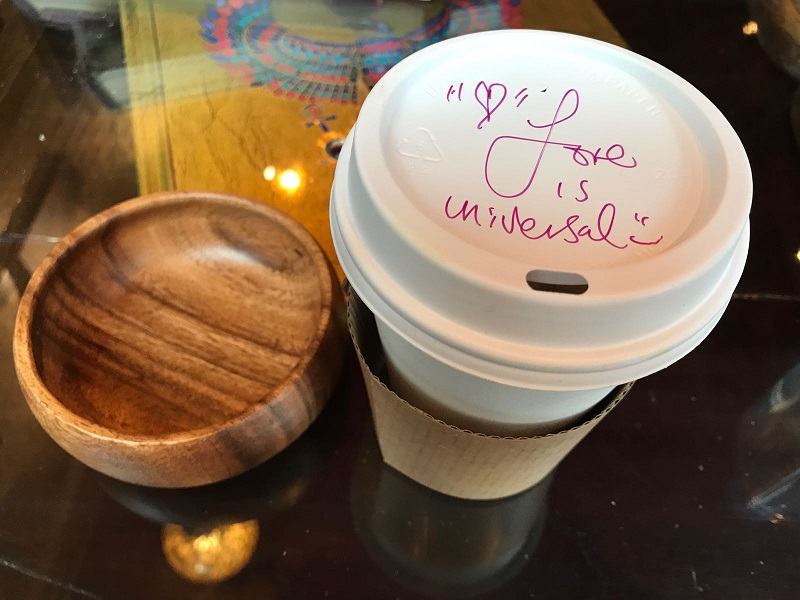 And a good cup of coffee with a positive message